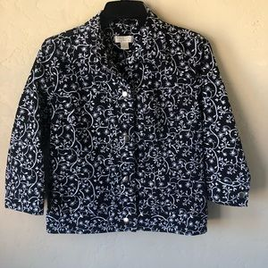 Christopher & Banks Floral Design Jacket Sz